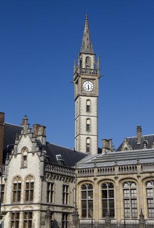 clocktower: Gothic clocktower in Ghent, Belgium