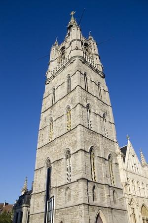 clocktower: The Belfort clocktower in Ghent, Belgium Stock Photo