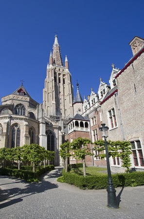 Tower of the Onze Lieve Vrouwe Church in Bruges, Belgium photo