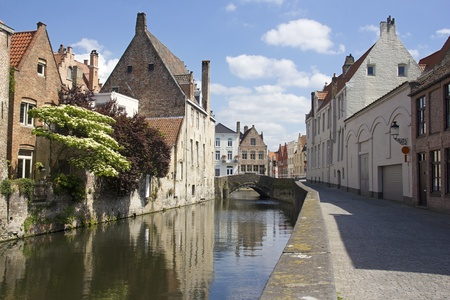 brugge: Quiet canal in the old part of Bruges, Belgium