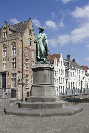 Statue of medieval painter Jan van Eyck in Bruges, Belgium Stock Photo - 10398801