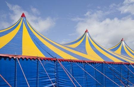 Detail of a large colorful circustent