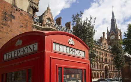 London telephone booth outside St. Pancras station
