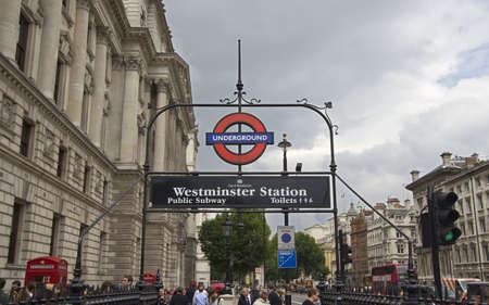 London, UK - July 21, 2011: Entrance to the Westminster subway station on July 21, 2011 in London, UK.
