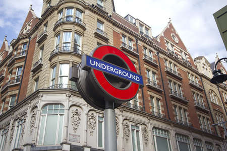 Sign of the London subway along Knightsbridge in Kensington on July 22, 2011 in London, UK.