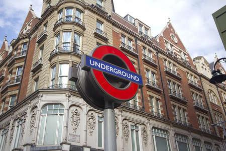 knightsbridge: Sign of the London subway along Knightsbridge in Kensington on July 22, 2011 in London, UK.