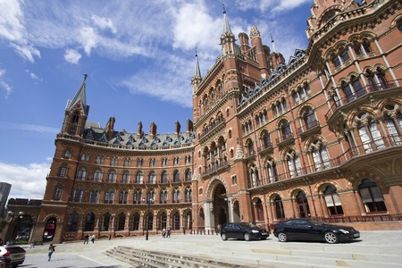 pancras: London, UK - July 23, 2011: Entrance of the Victorian St. Pancras Hotel in London, UK Editorial