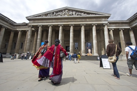 London, UK - July 23, 2011: Indian tourists in sari at the entrance of the British Museum in London, UK on July 23, 2011. Stock Photo - 11025905
