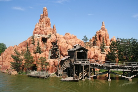 disneyland: Big Thunder Mountain Railroad at Euro Disneyland Park in Paris, France