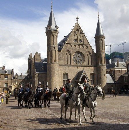 The Hague, Holland - September 18: Horsemen at a military ceremony on the courtyard of the Binnenhof Dutch Parliament on September 18, 2011 in The Hague