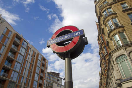 LONDON, UK - JULY 22: Sign of the London subway along Knightsbridge in Kensington on July 22, 2011 in London, UK.