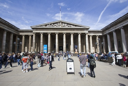 London, UK - July 23, 2011: Visitors at the entrance of the British Museum in London, UK on July 23, 2011.