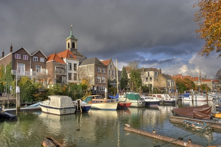 dordrecht: Old harbor in Dordrecht, Holland Stock Photo