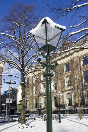streetlight: Streetlight in the snow in The Hague, Holland