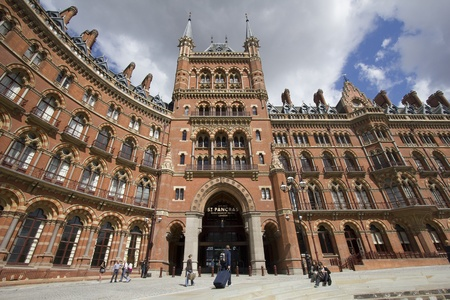 pancras: St. Pancras station and train travelers in London, UK Editorial