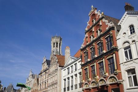 belfort: Historic houses and the Belfort tower in Bruges, Belgium