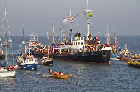 The boat with Sinterklaas arrives in  in Scheveningen, Holland on November 15, 2011