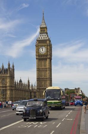 London, UK - July 24, 2011: Big Ben and traffic on Westminster Bridge on July 25, 2011 in London, UK Stock Photo - 12469294