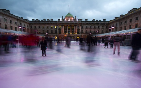Skaters on the Somerset House skating rink in London, UK Stock Photo - 12571983