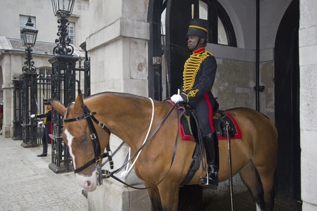 London, UK - July 25, 2011: Black Horse Guard on duty at Whitehall on July 25, 2011 in London, UK. Stock Photo - 12571984