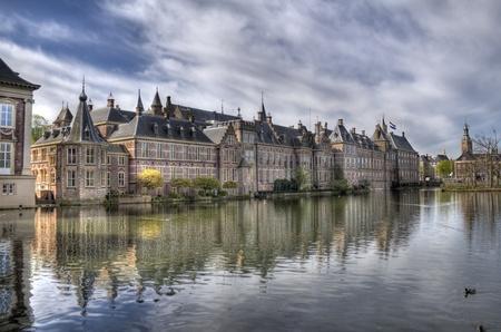 Dutch parliament buildings Binnenhof in The Hague, Holland Stock Photo