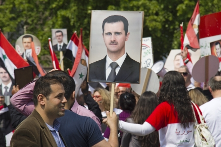 THE HAGUE, HOLLAND - MAY 19: Syrians demonstrate for Syria and Assad in the center of The Hague, Holland on May 19, 2012