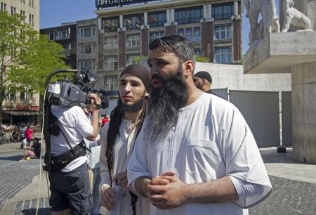 fundamentalism: AMSTERDAM, HOLLAND - MAY 25: British Muslim fundamentalist Sayful Islam talks to the press on his visit to Amsterdam, Holland on May 25, 2012