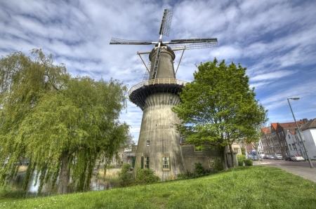 schiedam: Large stone windmill in Schiedam, Holland