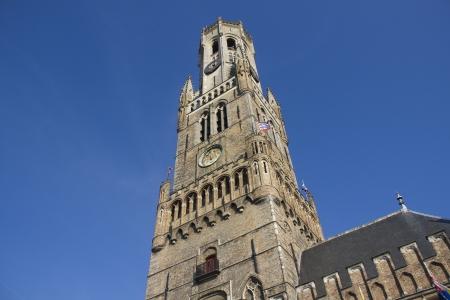 belfort: Belfort tower on the market square of Bruges, Belgium Stock Photo