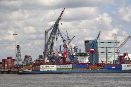 containership: Containership in Rotterdam harbor, Holland