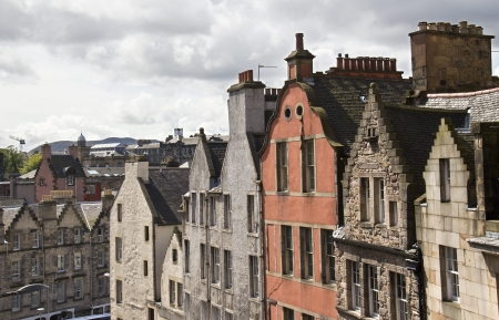 gables: Gables and roofs of historical houses in Edinburgh, Scotland, UK