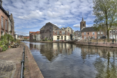 schiedam: Canal and historical houses in Schiedam, Holland Stock Photo