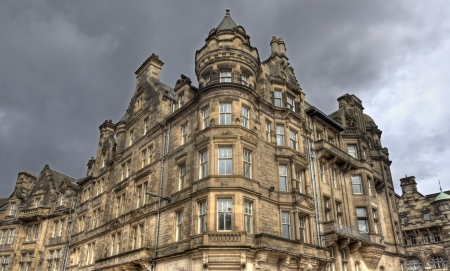 rainclouds: Edinburgh buildings in Scotland, UK