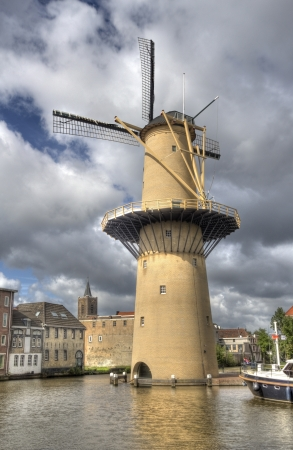 schiedam: Large stone windmill in Schiedam, Holland