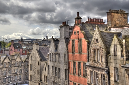 gables: Gables and roofs of historical houses in Old Edinburgh, Scotland, UK