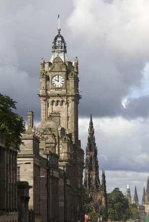 Clocktower of the Balmoral Hotel and Scott Memorial on Princes Street in Edinburgh, Scotland, UK Stock Photo - 16348878