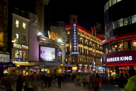 London, UK - January 1, 2013: Movie theatre, casino and restaurants in Leicester Square in London, UK on January 1, 2013 Stock Photo - 17765172