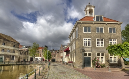 schiedam: Historical street and canal in Schiedam, Holland