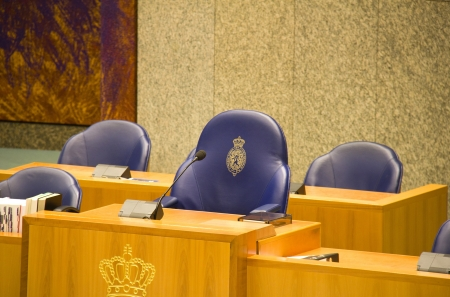 Seat of the Charman of the Dutch Parliament in The Hague, Holland Stockfoto
