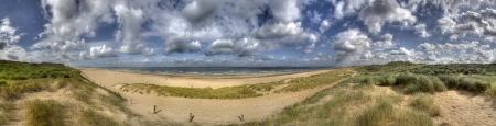 Panorama of the Dutch coast and North Sea near The Hague, Holland