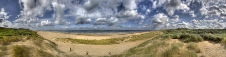 Panorama van de Nederlandse kust en de Noordzee bij Den Haag, Nederland Stockfoto