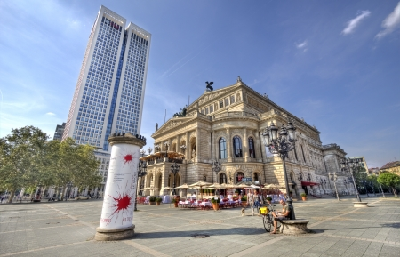 neo classical: Frankfurt, Germany - August 29, 2013  People relax around the Opera building in Frankfurt, Germany on August 29, 2013