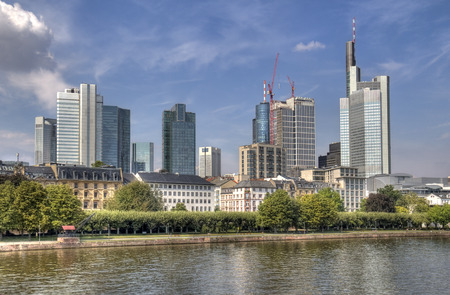 main river: Modern office buildings along the Main river in Frankfurt, Germany Stock Photo