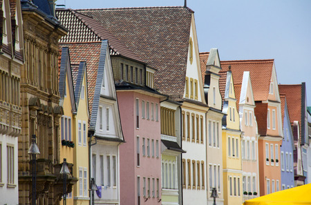 old house facade house: Rows of colorful historical houses in Speyer, Germany