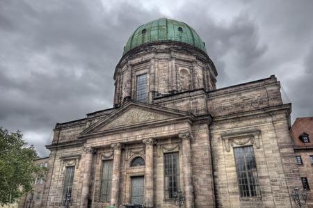 rainclouds: Historical building on Jacobsplatz in Nuremberg, Germany Stock Photo