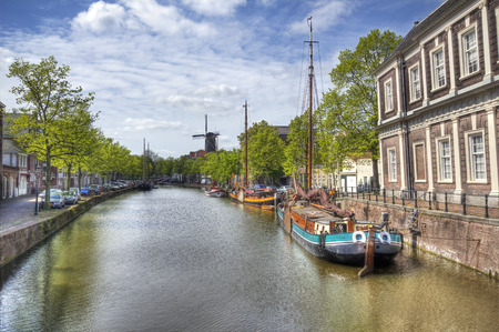 schiedam: Canal and historical boats in Schiedam, Holland Stock Photo