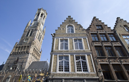 belfort: Historic houses and the Belfort Tower in Bruges, Belgium Editorial