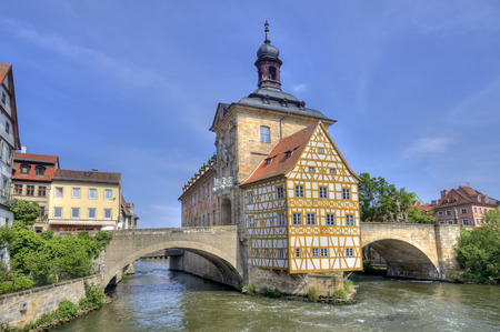 roof framing: Historical city hall of Bamberg on the bridge across the river Regnitz, Germany