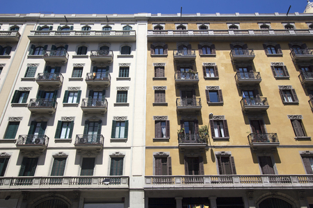 spanish homes: Historical apartment buildings with balconies in the Eixample area of Barcelona, Spain