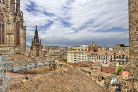 barcelona cathedral: The view of the city from the roof of  Barcelona Cathedral, Spain Stock Photo